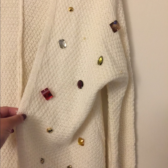 Sweaters - Open front cardigan w/ jewel embellishments